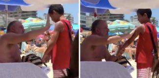 homem passa protector solar em menino que vendia bala na praia 324x160 - Início