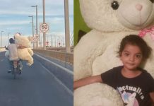 para-fazer-a-alegria-da-filha-pai-atravessa-a-cidade-carregando-um-urso-gigante-em-uma-moto
